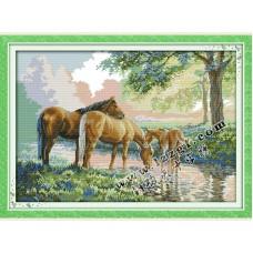 """Набор для вышивания крестиком """"Лошади у ручья"""" D434"""