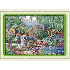 """Набор для вышивания крестиком """"Девушка в саду"""" F319"""