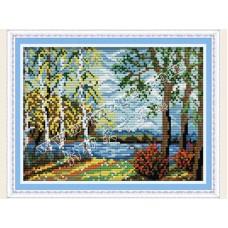 """Набор для вышивания крестиком """"Березки на берегу озера"""" F339"""