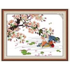 """Набор для вышивания крестиком """"Утки, сакура""""H011"""