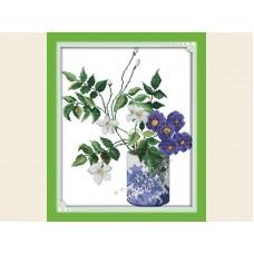 """Набор для вышивания крестиком """"Цветы в вазе"""" Н457"""
