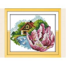"""Набор для вышивания крестиком """"Детские красный цветочек"""" H634"""