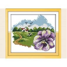 """Набор для вышивания крестиком """"Детские фиолетовый цветочек"""" H637"""