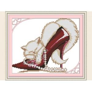 """Набор для вышивания крестиком """"Котенок в туфельке"""" J101"""