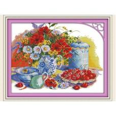 """Набор для вышивания крестиком """"Натюрморт, цветы в вазе и вишня"""" J108"""