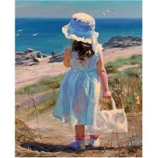 """Алмазная мозаика """"Девочка на берегу моря"""" R13"""